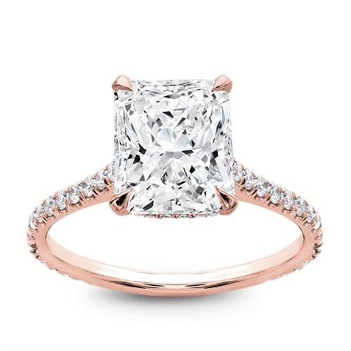 radiant rose gold engagement ring