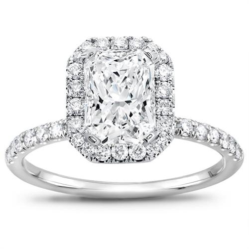 radiant halo engagement ring