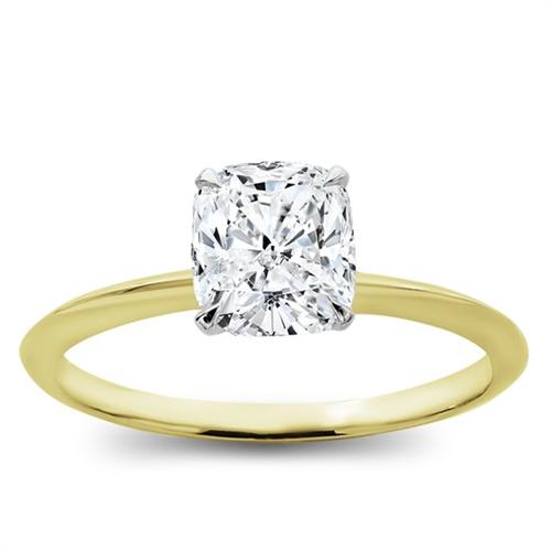 cushion cut thin band engagement ring