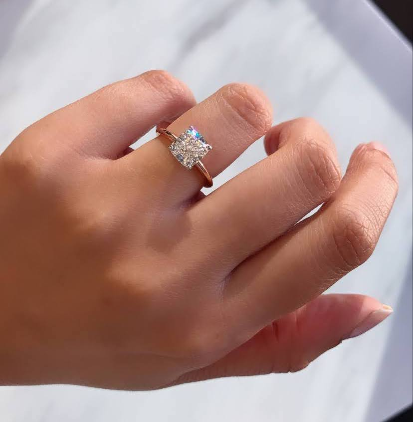 rose gold cushion cut solitaire engagement ring