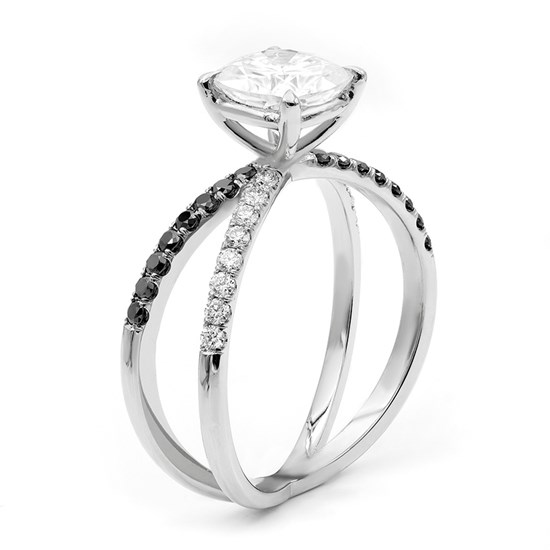 Criss Cross Split Shank  Engagement Ring with Black and White Diamonds