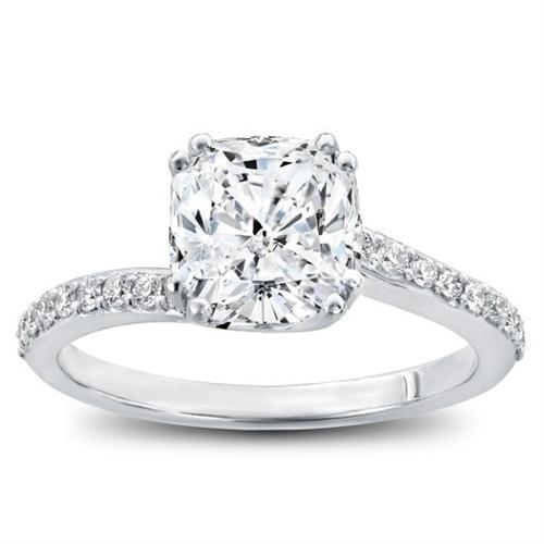 Pave Diamond Swirl Engagement Ring with Cushion Cut Center Diamond