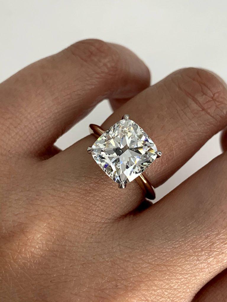 5 carat diamond ring cushion cut diamond ring