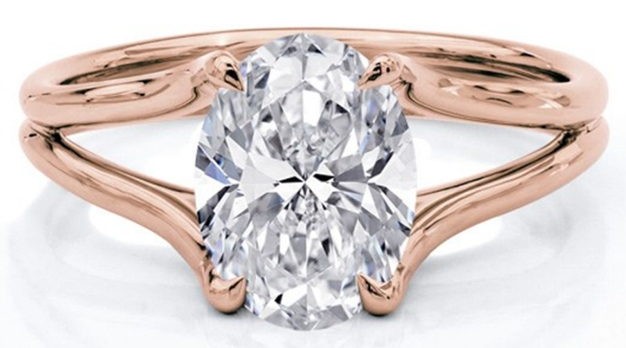 A Rose Gold Ring with an Oval Diamond