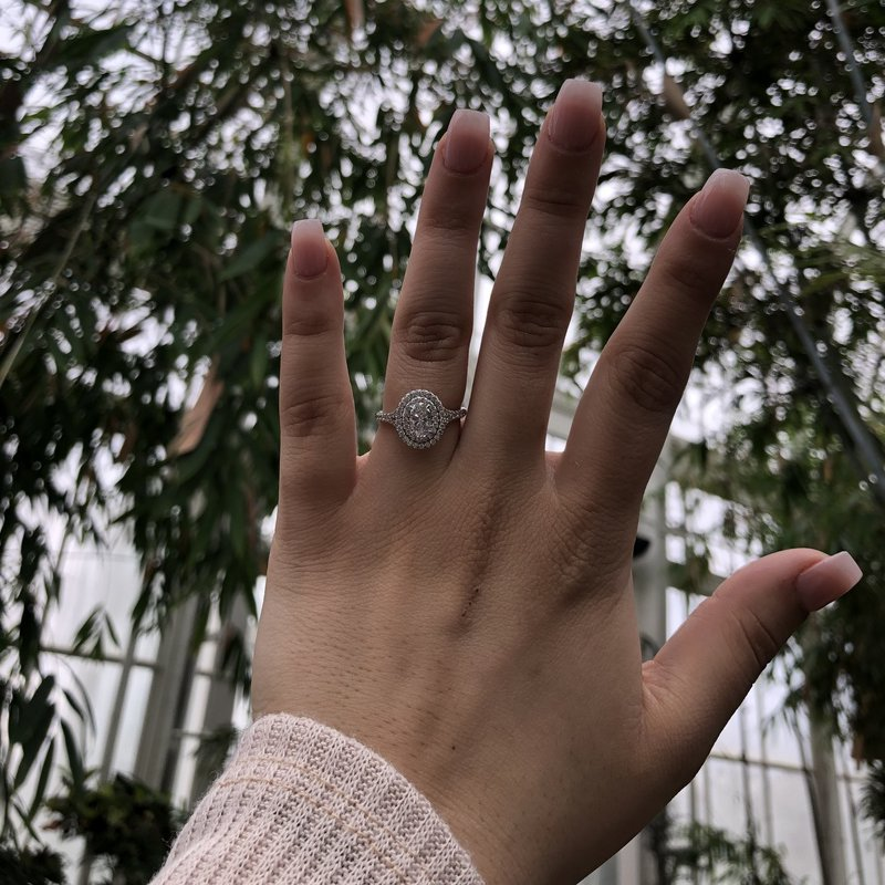 Double Halo Engagement Ring with Oval Center Diamond