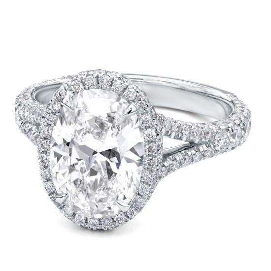 Oval Shaped Split Shank Diamond Ring