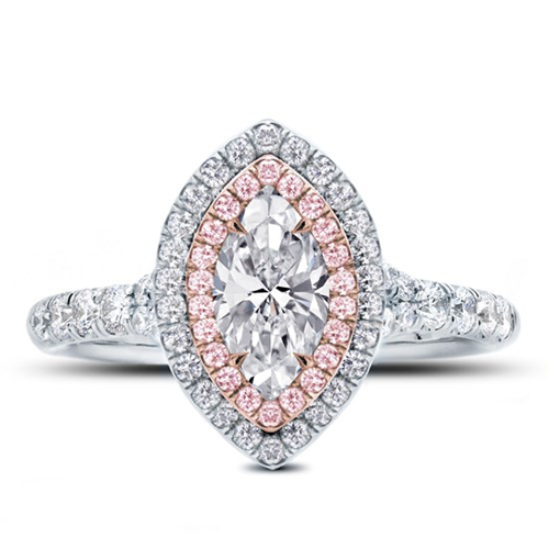 Rose and White Split Shank Halo with Marquise Center Diamond