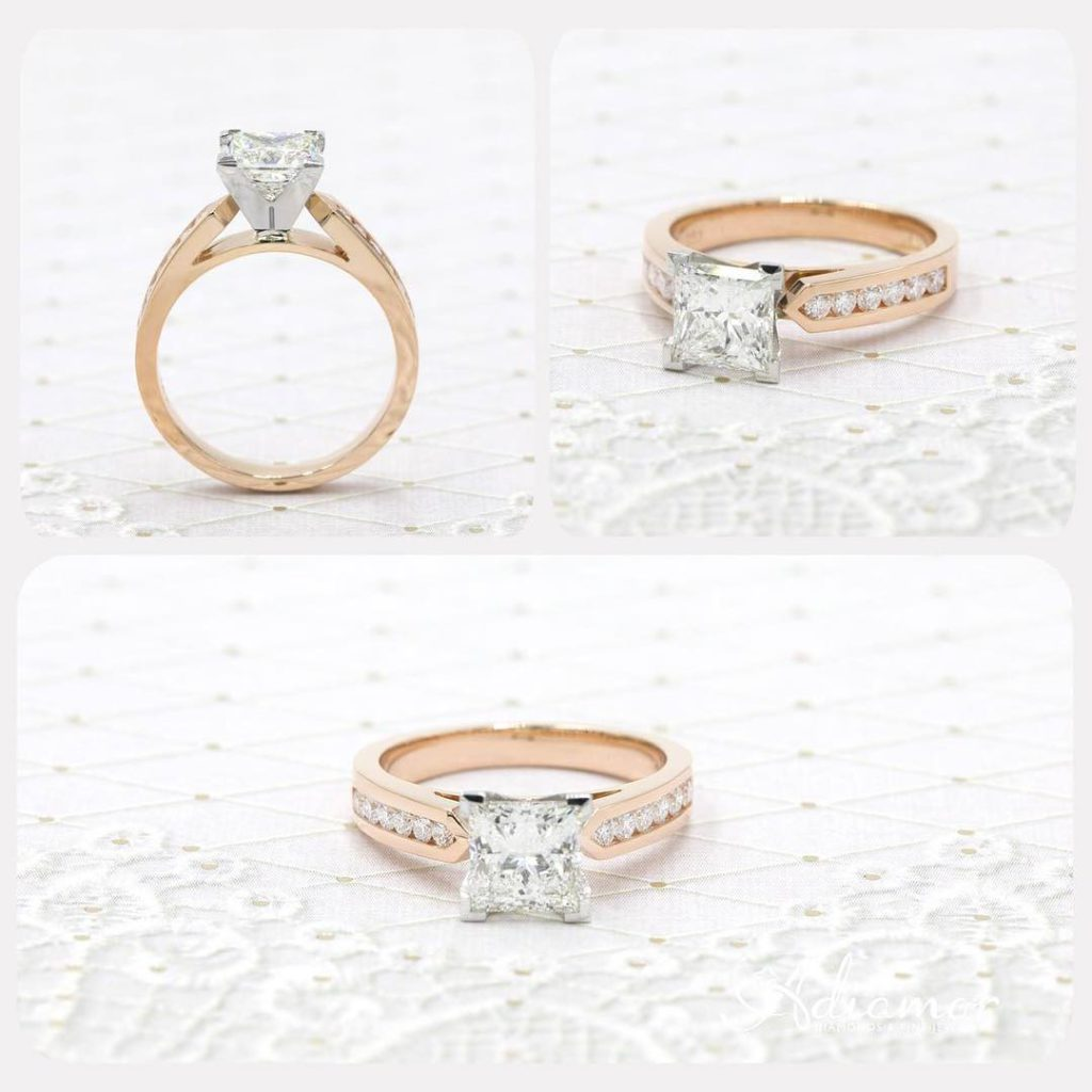 Rose Gold Channel Set Engagement Ring Settings