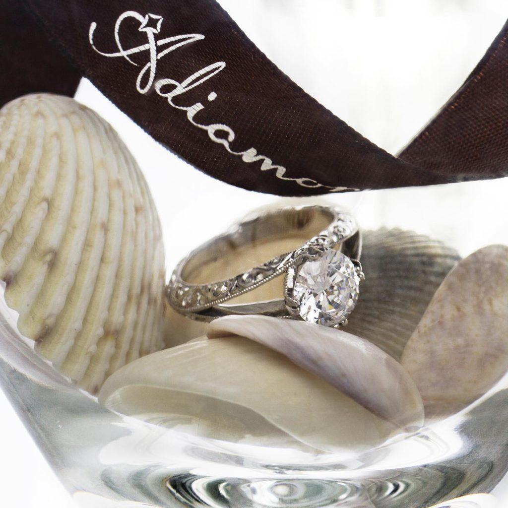 Hand Engraved Tulip Split Shank Diamond Ring