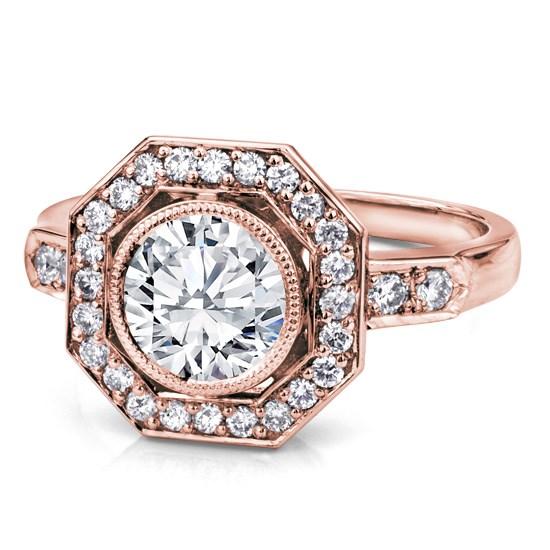 Art Deco Octagon Halo Engagement Ring