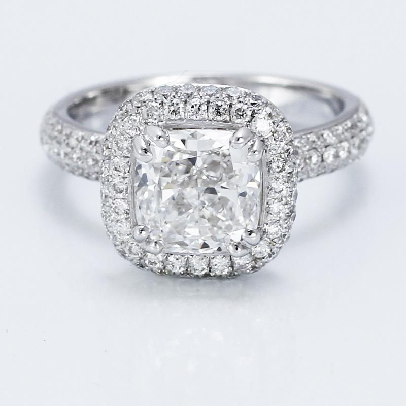 Custom Cushion Cut Diamond Engagement Ring by Adiamor