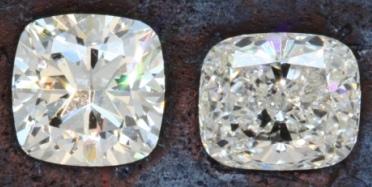 "Traditional Cushion Cut and ""Crushed Ice"" Cushion Cut Diamonds"