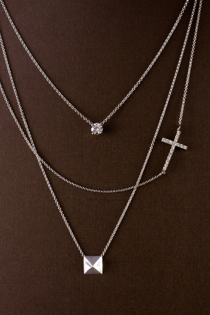 Layered Necklaces, New by Adiamor, Diamond Solitaire, Sideways Diamond Cross and Pyramid Stud Necklaces