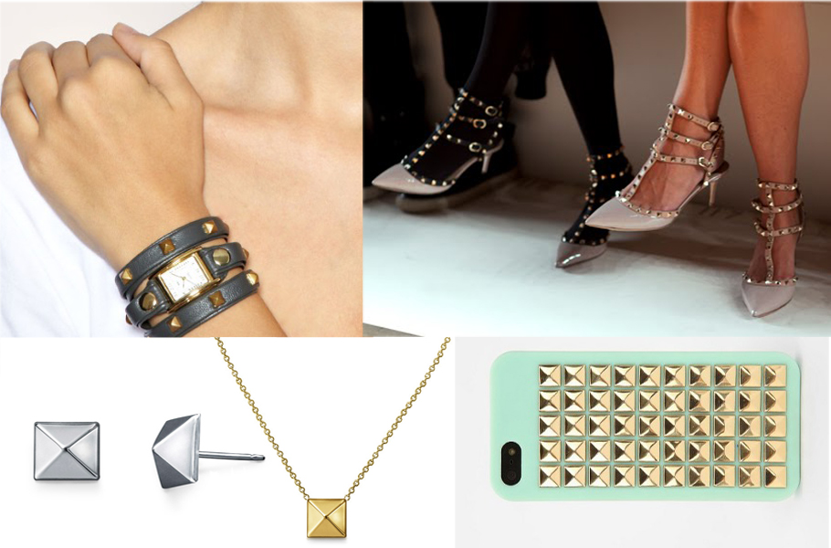 The Pyramid Stud Craze is Going Strong! Shown here are Valentino Pyramid Stud Shoes, a Pyramid Studded iPhone Case, and Pyramid Stud Earrings and Necklace by Adiamor.
