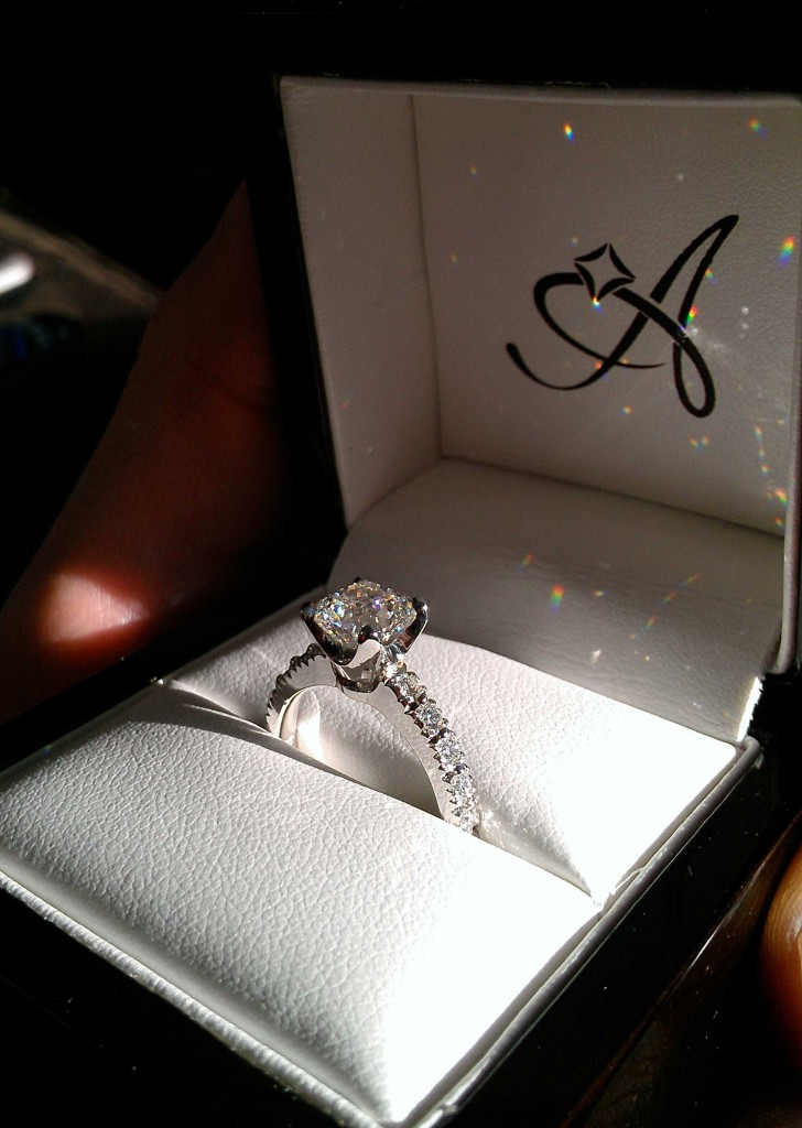 Cushion cut engagement ring from Adiamor.