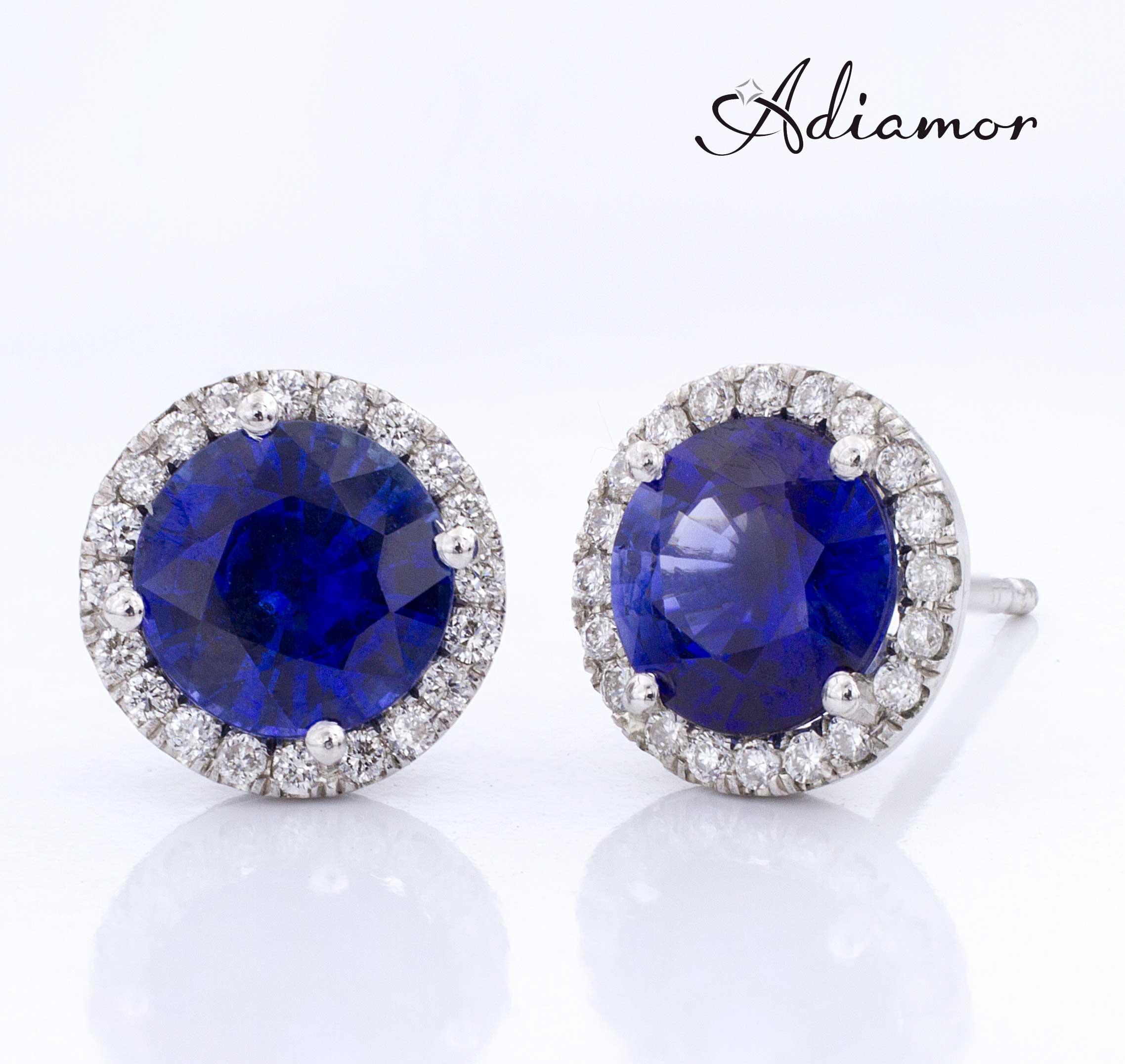 Adiamor's Sapphire Diamond Halo Earrings