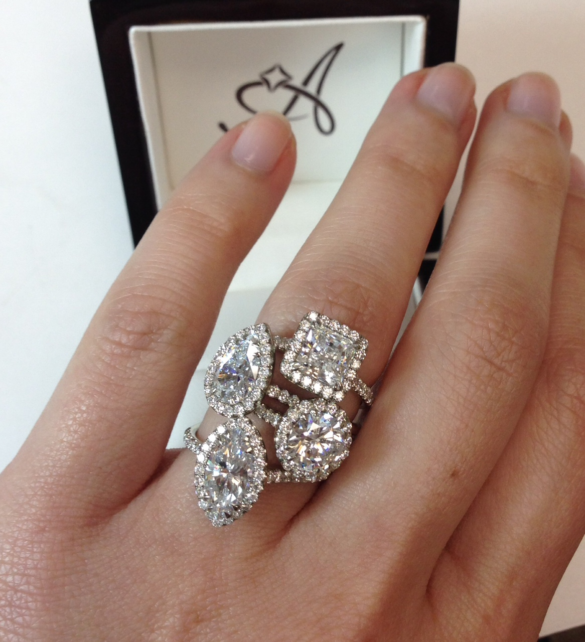 R2940 French Cut Halo Engagement Ring In Diffe Diamond Shapes