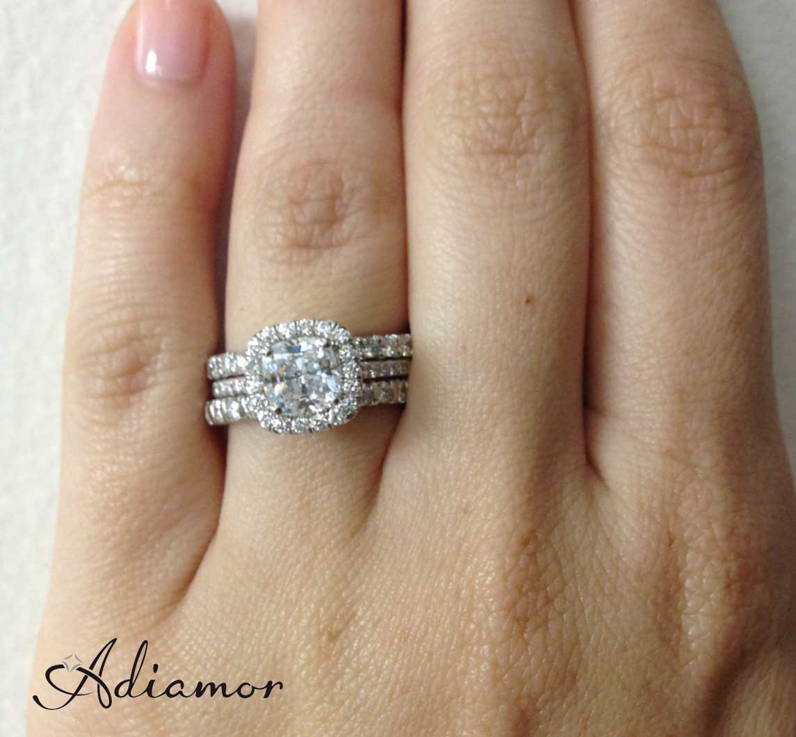 Cushion Halo Ring With Mismatched Stacked Bands