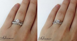 Solitaire Diamond Engagement Ring with Eternity Band
