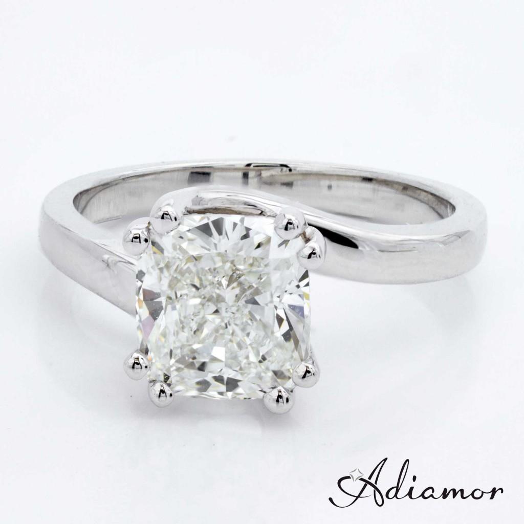 Custom Solitaire Swirl Engagement Ring