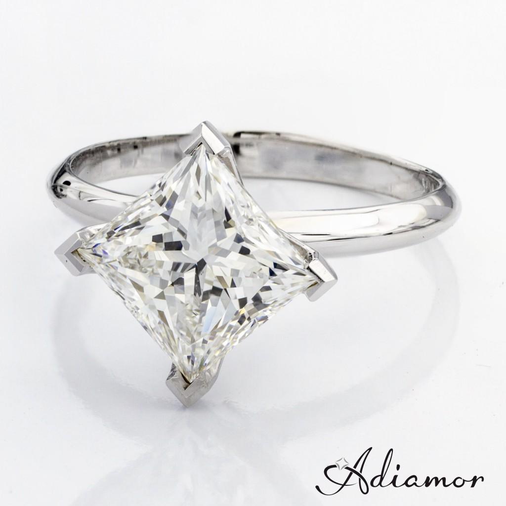 Kite Set Princess Cut Diamond Ring
