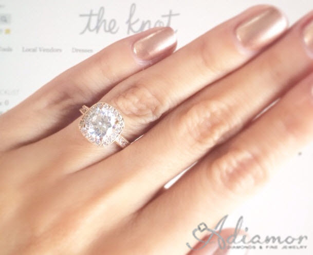 Adiamor Cushion Cut Diamond Engagement Ring