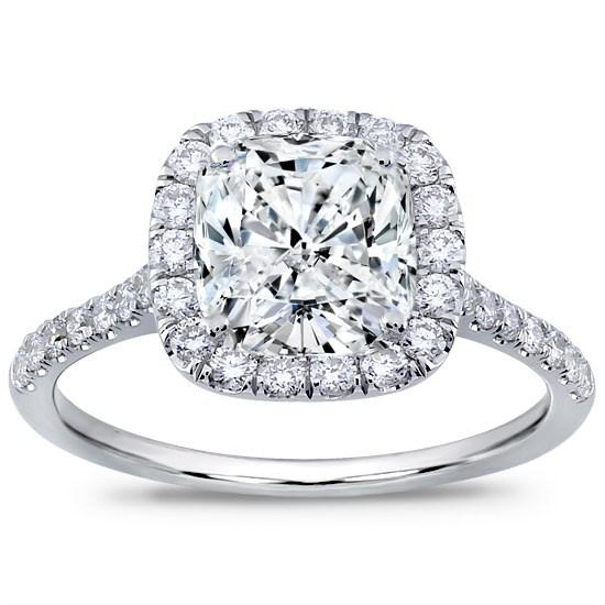 Cushion Cut Diamond Cushion Cut Diamond In Halo Setting