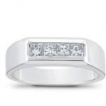platinum diamond wedding band for men