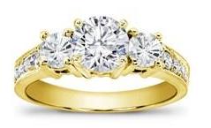 yellow gold three stone ring
