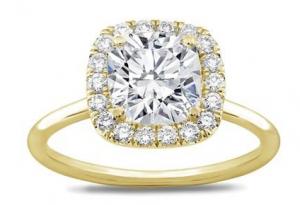 18K Yellow Gold Plain Band Cushion Halo Engagement Ring