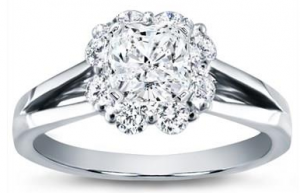 Petal Halo Diamond Engagement Setting 18K White Gold