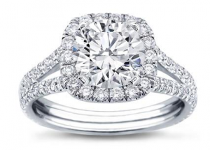 Split Shank Halo Setting For Cushion Cut Diamond 14K White Gold