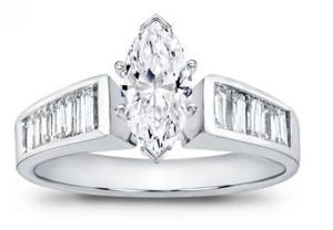 platinum Baguette Diamond Engagement Setting