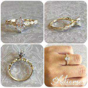 vintage leaf diamond engagement