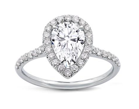 Pear Shape Diamond Halo Engagement